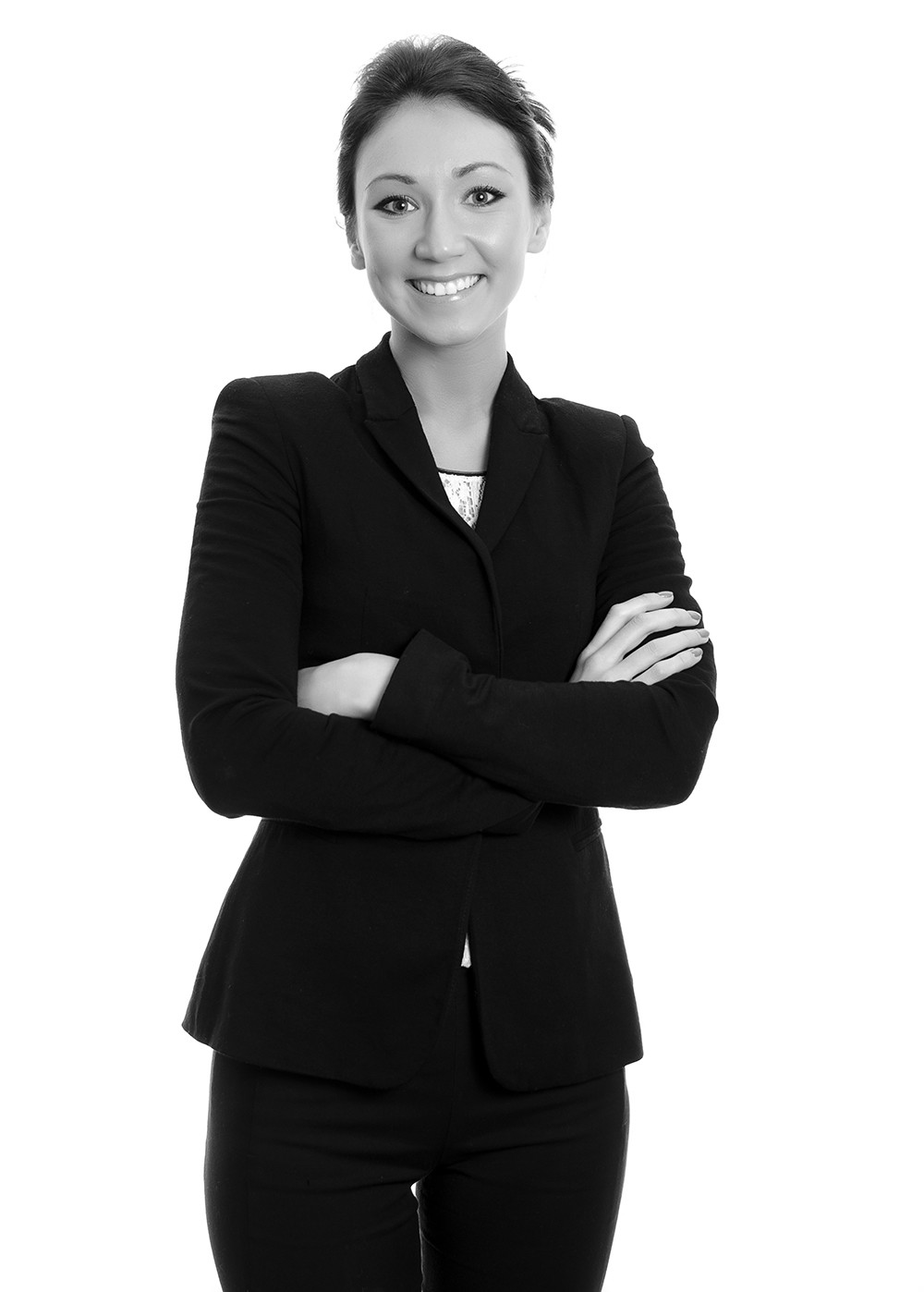 Vertical Business Woman with arms crossed (Black and White)